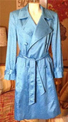 Auth ESCADA Teal Blue Snake Print Sheen Rain Trench Coat Jacket Size 36 6 | eBay