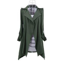 $ 20.79 Modern Korean Style Three Quarter Sleeve Turndown Collar Trench Coat