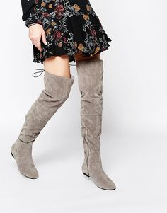 Image 1 of Daisy Street Gray Over The Knee Tie Back Flat Boots
