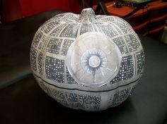 Death Star styled fake pumpkin- UV reactive & glow-in-the-dark details