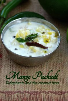 Raw mango in yogurt and coconut paste.(Kerala special easy curry) http://elephantsandthecoconuttrees.blogspot.com/2013/09/Pacha-manga-pachadi-Raw-mango-in-yogurt-Manga-kichadi-Sadhya-special-manga-pachadi-easy-curry-recipe.html