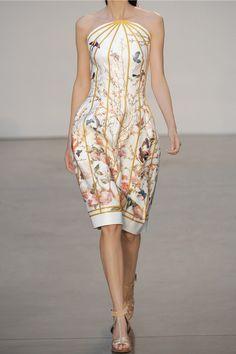 Thakoon|Printed matte duchesse-satin dress|NET-A-PORTER.COM