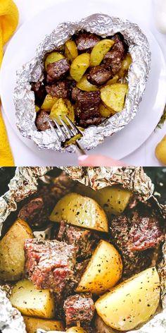 Knoblauch Herb Steak und Kartoffel-Foil Pack - LECKER Steak und Kartoffeln, gewürzt mit Knoblauch und Kräutern und gekocht innen Folienpackungen. Sie können auf dem Grill oder im Ofen gebacken werden und sind ideal für eine Familie Abendessen oder einen Hinterhof get-together. #hühnchenrezept #vegetarischesrezept #hühnchenrezept #vegetarischesrezept