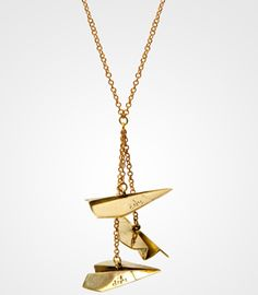 Dangling Paper Airplanes Necklace