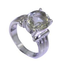 flawless Green Amethyst Silver Green Ring handcrafted L-1in US 5678