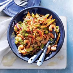 Het recept van de dag is: Oosterse rijstsalade met mango, paprika en garnalen!
