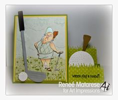 Art Impressions Ai People  Goldie Golfer. Handmade step card.  Golf club, ball, tee sports themed card