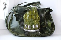 4lapki женская сумка пулл-ап кожа КРС крокодил ручная работа / genuine leather bag purse handmade leatherwork craft