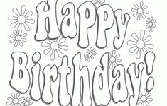 Colouring Pages For Birthday Coloring Cards Happy Printable