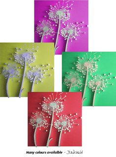 HUGE Dandelion metal wall sculptures - ANY COLOUR! What makes these pieces so effective and exciting is the combination of the varying depths and the reflective surfaces of the materials used. Back ground: A variety of matt colours to choose from. Size: Huge - 35 x 35 inches (89 x 89 cm) Materials: Aluminium and finished MDF. Support: Secure picture hanging accessories. (0.2 inches / 0.5 cm deep) Delivery: 14 days Available in any colour you desire. From LaJoJo.co.uk £350 each FREE postage