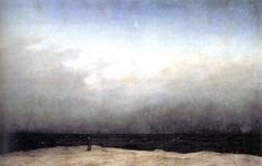 """The vastness of this piece is breathtaking. """"Monk by the Sea"""" by Caspar David Friedrich. 1809. Oil on Canvas. 110x172 cm."""