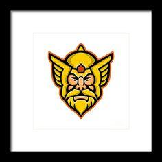Mascot Framed Print featuring the digital art Thor Norse God Mascot by Aloysius Patrimonio Thor Norse, Hanging Wire, Retro Fashion, Fine Art America, Digital Art, Framed Prints, Marvel, God, Artwork