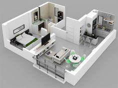 One Bedroom House/Apartment Plans – Amazing Architecture Magazine Small Apartment Plans, Apartment Floor Plans, Bedroom Floor Plans, Apartment Layout, Apartment Design, 3d House Plans, House Blueprints, Dream House Plans, Small House Plans