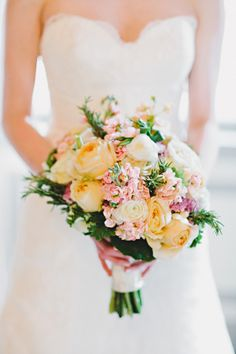 Yellow and pink bridal bouquet | http://amyarrington.com/