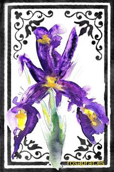 Iris watercolor. over digital drawing