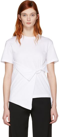 J.W.ANDERSON White Draped Front T-Shirt. #j.w.anderson #cloth #t-shirt