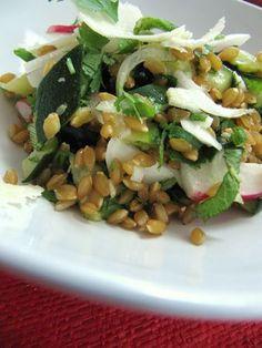 salade d'épeautre, courgettes, menthe coriandre, copeaux de  parmesan, oignon, radis