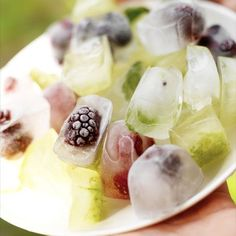 fruit ice cubes for mixed drinks. cool idea for parties and showers.
