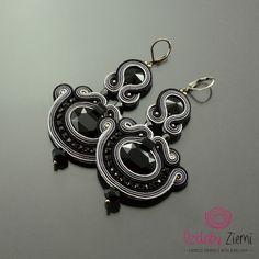 Black Gray Crystal Soutache Earrings Gray Secret, Long Black Soutache Earrings, Black Embroidered Earrings, Statement Earrings, Orecchini by OzdobyZiemi on Etsy