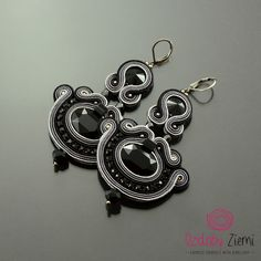 Black Gray Crystal Soutache Earrings Gray Secret, Long Black Soutache Earrings, Black Embroidered Earrings, Statement Earrings, Orecchini by OzdobyZiemi on Etsy