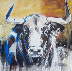 Buy TAURUS #3 – Close up portrait of a bull **large Painting 100 x 100 cm, Acrylic painting by Stefanie Rogge on Artfinder.  #artforsale #cow #bull #painting #original #contemporaryart ##kunst #malerei #gemälde #interior #stier #decoration #africa #safari (scheduled via http://www.tailwindapp.com?utm_source=pinterest&utm_medium=twpin)