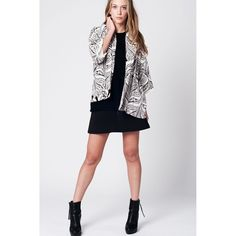 Leaf Print Kimono with Fringed Sleeve Detail in Cream