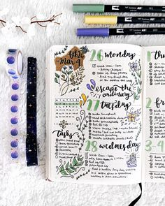 February 2 - March 4 Bullet Journal Weekly Spread Celestial Moon Floral Calligraphy • Plantful