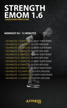 12 Minute Strength EMOM 1.6- 12 bent over rows and 10 step ups per side.