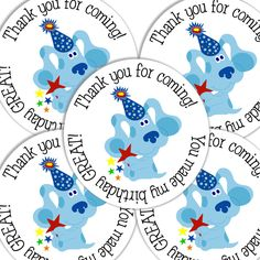 20  2 Inch round Blues Clues Birthday sticker labels party favors. $6.00, via Etsy.