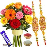 Rakhi with Mixed Flowers with Same Day Rakhi Delivery