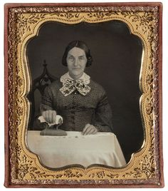 """You're sure not """"the cute one"""" when you are ironing.     A Woman Ironing, Daguerreotype, c. 1850-55."""