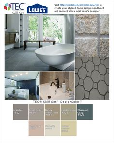 -Pinterest: Love this color palette and design mood board created by @homesurfaces found at tecskillset.com/color-selector #kitchen #bathroom. Get your own and a free design consultation from a Lowe's designer!