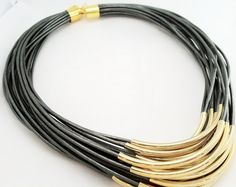 Grey Leather Necklace with Gold or Silver Tube by Leatherwraps, $95.00