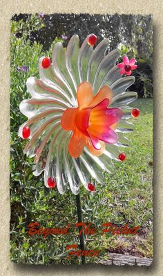 Garden Flower Art diy: how to make thrifted glass garden flowers - using colored and