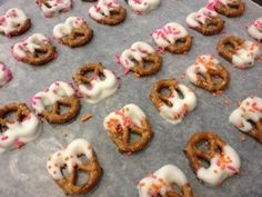 Candy Melts make quick treats - dip mini pretzels in melted white chocolate and top with sprinkles - 5 minutes to make - kid-approved (why make cookies these are easier and only needs a glass bowl and a spoon - less dishes)
