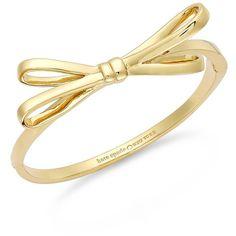 kate spade new york Gold-Tone Bow Hinge Bangle Bracelet ($52) ❤ liked on Polyvore featuring jewelry, bracelets, accessories, bracelets & bangles, bracelet bangle, bangle bracelet, bangle jewelry, bow bangle and hinged bangle bracelet