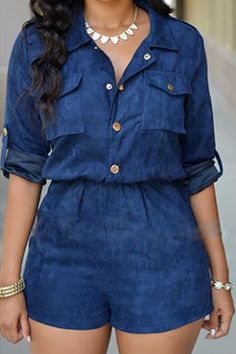 Casual Turndown Collar Single Breasted Blue One-piece Jumpsuit
