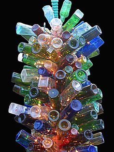 Bottle Tree with Lights