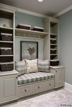 love these built in shelves and seating, hmmm window seat. Built In Shelves, Built Ins, Storage Shelves, Entryway Storage, Storage Baskets, Shelving, Extra Storage, Entryway Closet, Shoe Storage