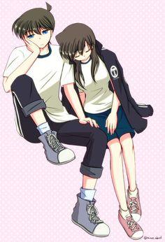 This is cute Manga Couple, Anime Love Couple, Anime Couples Manga, Manga Anime, Anime Art, Ran And Shinichi, Kudo Shinichi, Detective Conan Ran, Detektif Conan