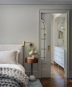 Here's the yin to yesterday's yang - cool grey walls, warm grey bed. You've seen this angle before but makes it look prettier… Interior Design, Serene Bedroom, Warm Grey, 1920s House, Interior, Warm Grey Walls, Bedroom Wall Colors, Home Decor, Grey Bedding