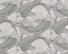 RW6635 Koi Fish Wallpaper Koi Wallpaper, Thick Wallpaper, Quirky Wallpaper, Contemporary Wallpaper, Trendy Wallpaper, Bathroom Wallpaper, Contemporary Style, Wall Patterns, Print Patterns