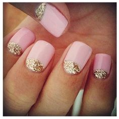 cool pink nail design with gold glitter