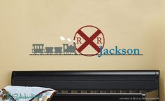 Railroad Sign - Train - Train Track - With Your Name Boy Children's Bedroom Nursery Vinyl Wall Art Sticker Decal 1461
