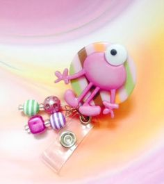 Monster Retractable Badge Reel Pinkprofessional by ForTheLovetlc, $8.00