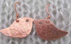 Copper and Silver Tin Robin Earrings, Bird Earrings. Twitchers Earrings. by ruddlecottage on Etsy https://www.etsy.com/listing/116854564/copper-and-silver-tin-robin-earrings
