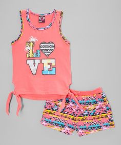 Love this Coral 'Love' Tie Tank & Palm Shorts - Infant, Toddler & Girls on #zulily! #zulilyfinds