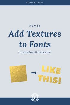 In this Adobe Illustrator tutorial, I'll show you how to easily add  watercolor textures, gold foil and any other texture to whatever font you  choose.  And guess what? This applies to ANY shape or vector image you have in  Illustrator. That way you can add textures to lettering as well. Have fun!  WHERE TO GET FONT TEXTURES:      * Gold Foil(similar)     * Watercolor(similar)     * Other awesome textures & effects  So you finally found the perfect font for your project.  Now, you want to…