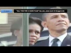 """Michelle Obama's """"All this for a damn flag"""" shown at three different speeds--Obama and his wife were attending the 9/11 Memorial Ceremony and watched as the Color Guard folded the flag into a triangular shape, according to custom. A video camera caught the two from the sidelines. Obama's wife leaned over and said to him, """"All this for a damn flag?"""" Obama turned to her, smiled smugly, and nodded his head in agreement.  An instructor @ School for the Deaf & Blind read her lips. She has NO…"""