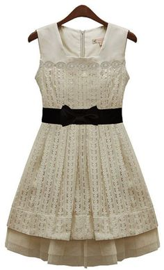 Tiered Bow Belted Mesh Lace Tank Prom Dress